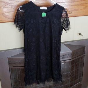NWT online boutique Black lace shift dress